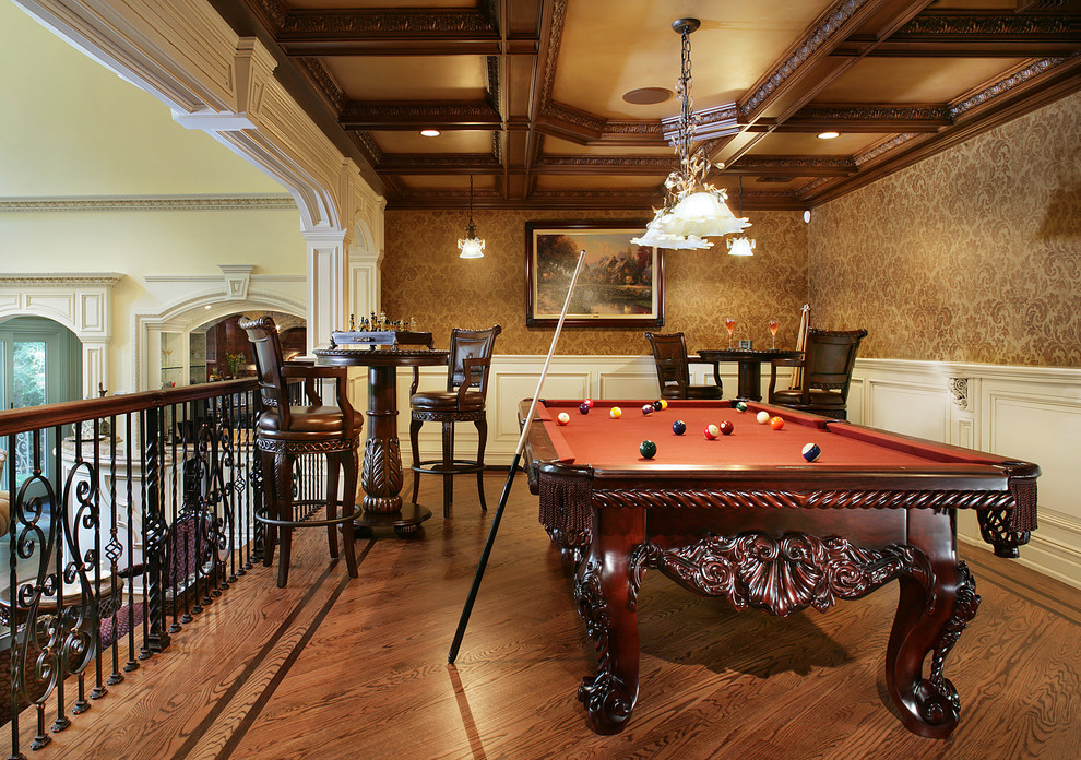 Pub Tables and Chairs Family Room Traditional with Balcony Billiar Light Billiards Carved Wood Furniture Coffered Ceiling Damask Hardwood Floor