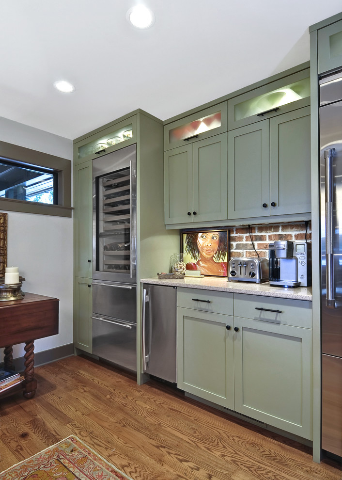 Puck Lights Kitchen Transitional with Brick Backsplash Gray Trim Wine Refrigerator Wood Floors