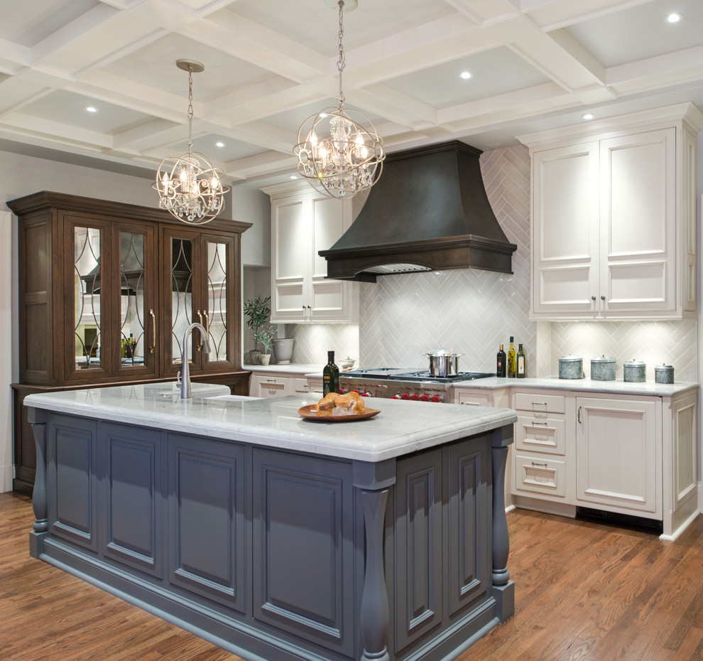 Puck Lights Kitchen Transitional with Coffered Ceiling Custom Cabinetry Custom Metal Range Hood Designer Kitchen Dramatic Backsplash
