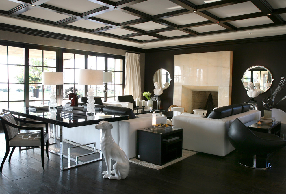Puck Lights Living Room Contemporary with Black Ceiling Dark Wood Dog Fireplace Modern Sculpture Sofa Versace White
