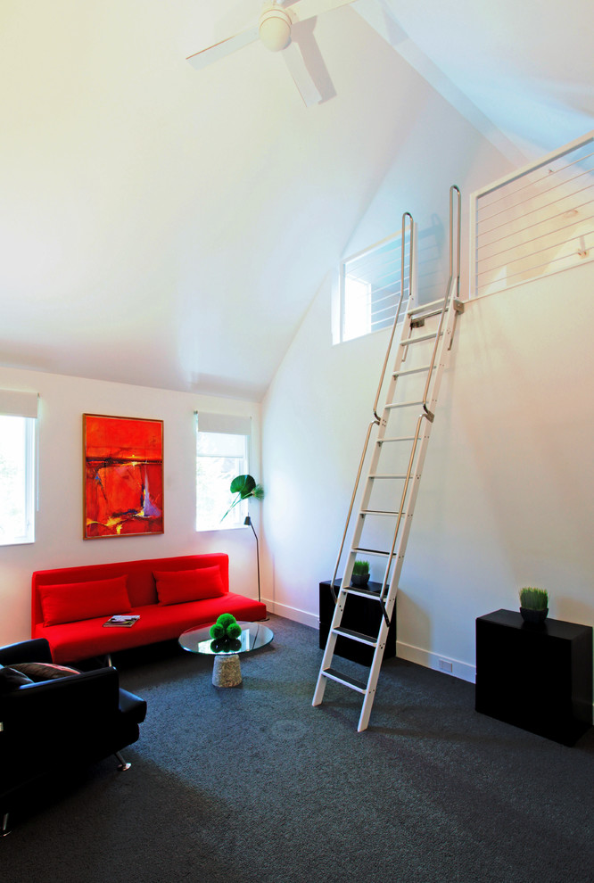 Pull Out Couches Bedroom Transitional with Ceiling Fan Gray Carpet Guest Bedroom Ladder Loft Metal Rail Red Pull