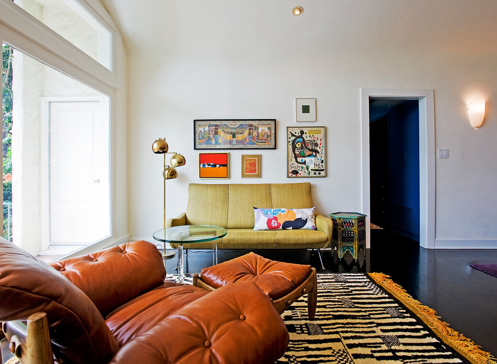 Pull Out Couches Living Room Transitional with Art Arrangement Italian Settee Leather Chair Leather Ottoman Missoni Moroccan Rug Sergio