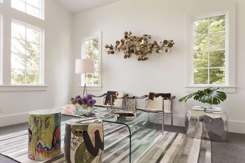 Puppy Beds Bedroom Contemporary with Clear Table Cowhide Chair Cowhide Chairs Fur Rug Garden Stool Glass Coffee