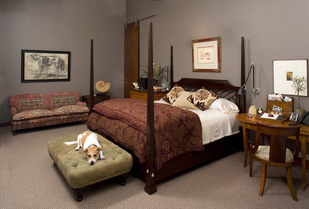 Puppy Beds Bedroom Traditional with Dark Wood Bed Dog Art Four Poster Bed Gray Carpet Gray Walls