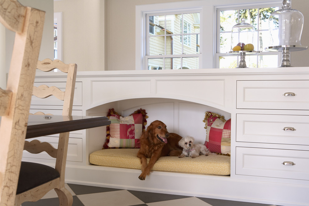 Puppy Beds Kitchen Traditional with Black and White Floor Built Ins Cake Stand Cloche Jar Dog Bed