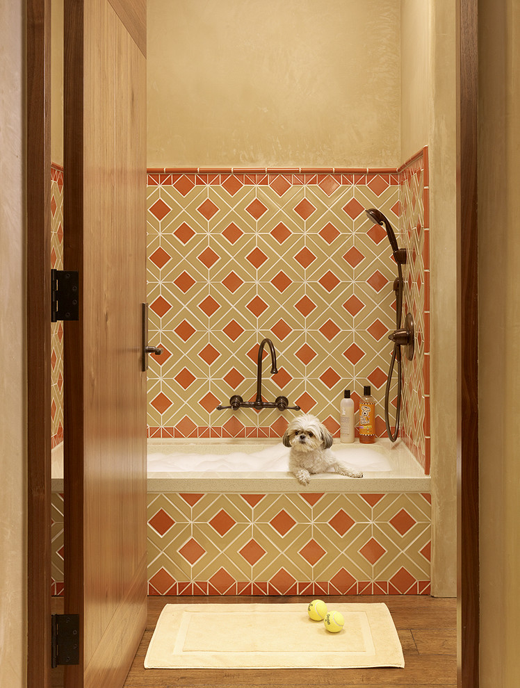 Puppy Pens Bathroom Mediterranean with Beige Tile Bright Shower Tile Handheld Shower Head Multiple Shower Heads Orange