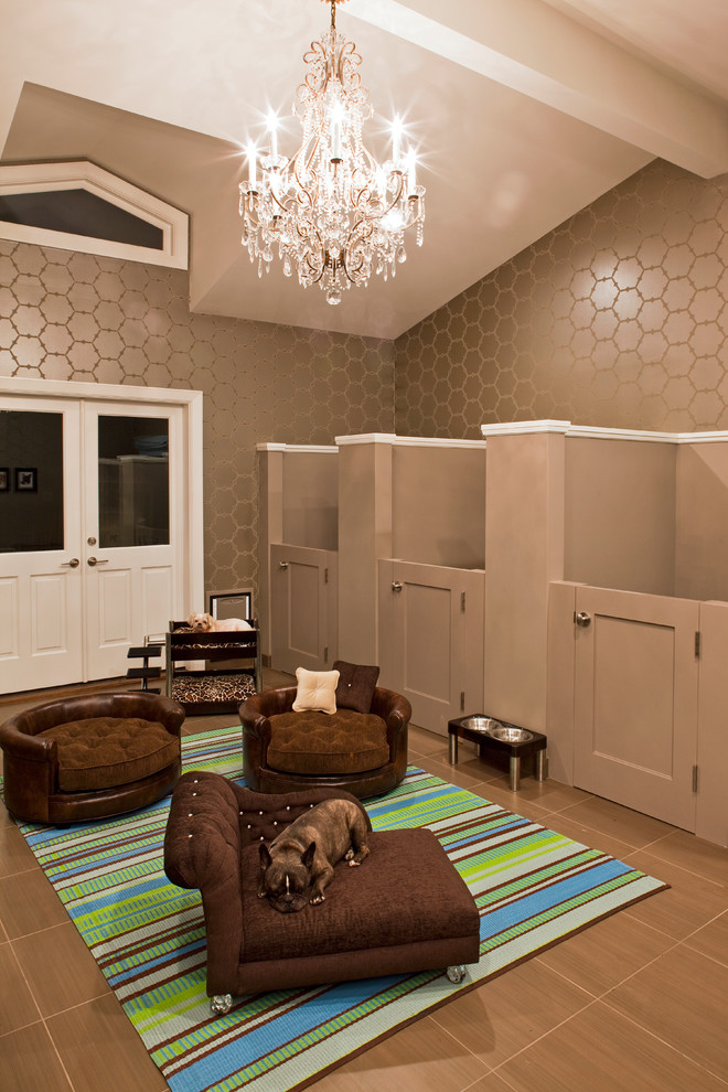 Puppy Pens Garage and Shed Contemporary with Brown Floor Tile Brown Furniture Brown Walls Clerestory Window Crystal Chandelier Dog