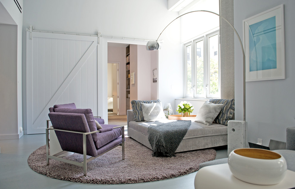 Purple Accent Chair Living Room Contemporary with Arc Lamp Circular Rug Day Bed Pops of Color Purple Accent Chairs