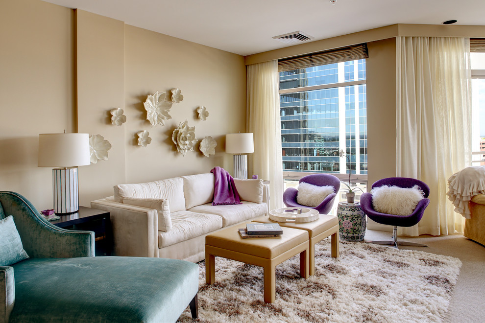 Purple Accent Chair Living Room Transitional with Ceramic Flower Wall Art Ceramic Stool City View Custom Chaise Designer Roller
