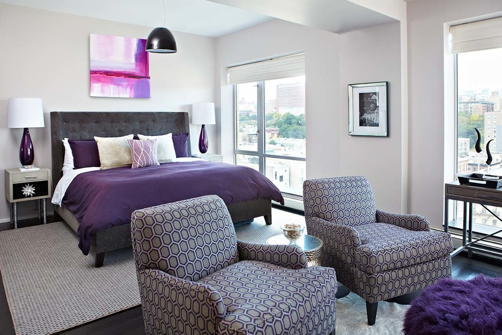 Purple Bedspreads Bedroom Contemporary with Area Rug Artwork Bernhardt Upholstered Bed Black and White Photogrphy Casters Eggplant