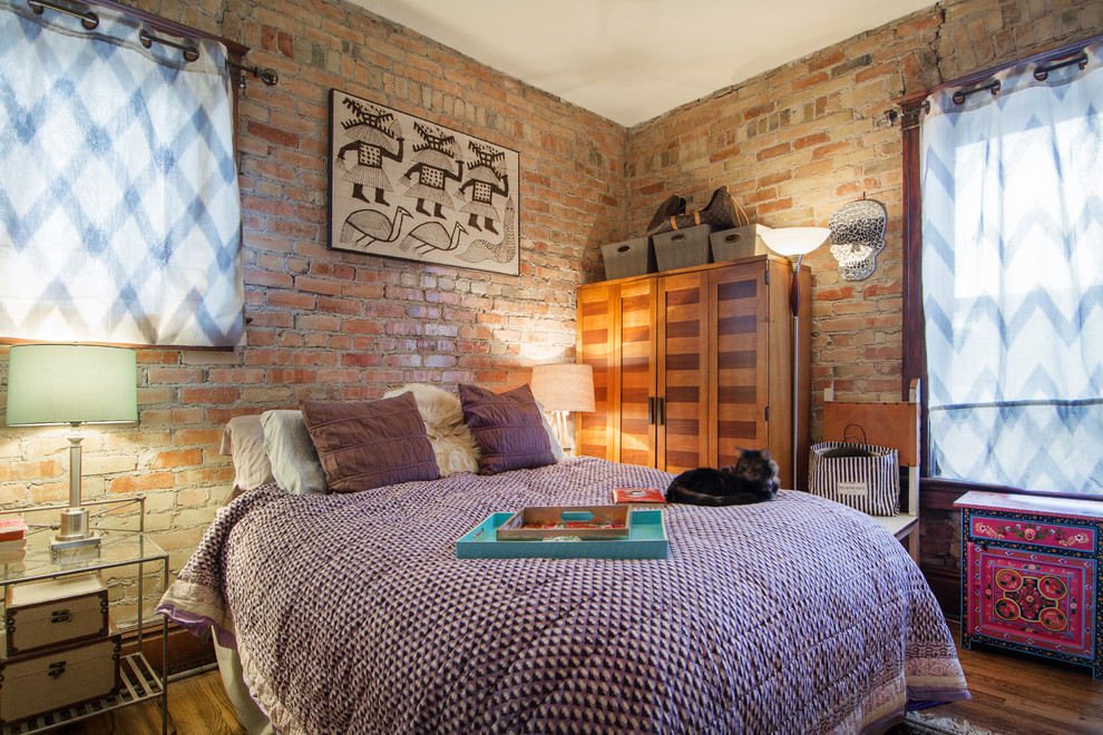 Purple Bedspreads Bedroom Eclectic with Accent Table Armoire Bedding Brick Wall Chair Lamps My Houzz Night Stand