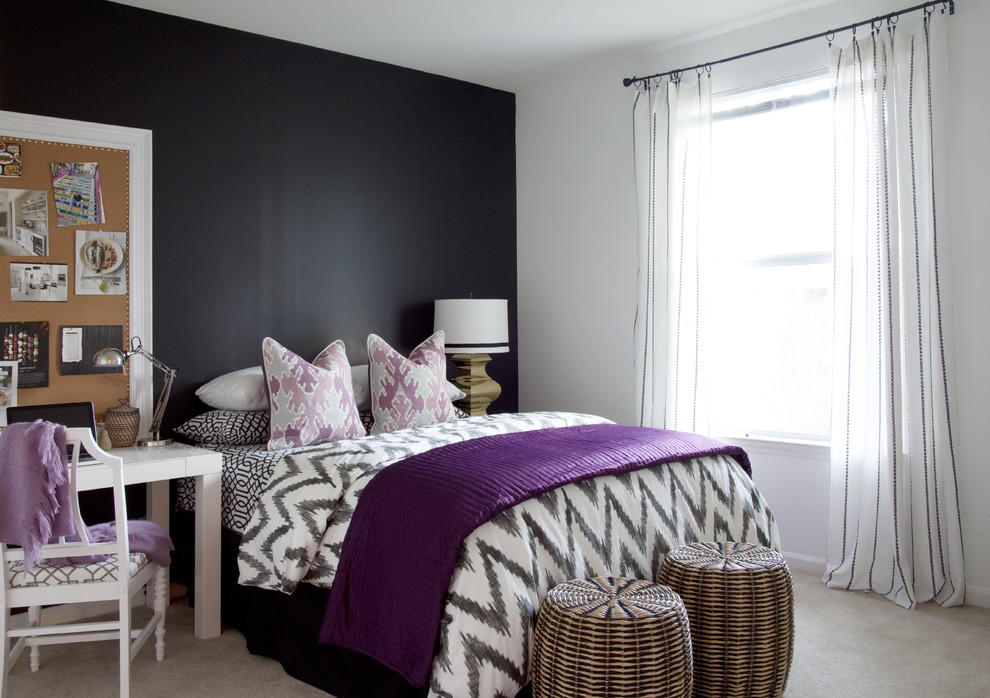 Purple Chevron Bedding Bedroom Eclectic with Accent Wall Apartment Bedside Table Brass Bulletin Board Chevron Pattern Dark Walls