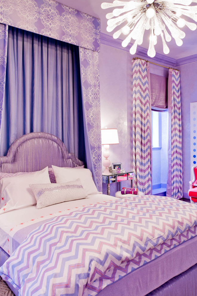 purple chevron bedding Kids Eclectic with Bedroom bedside table bright colors chevron curtains headboard kid's room modern chandelier