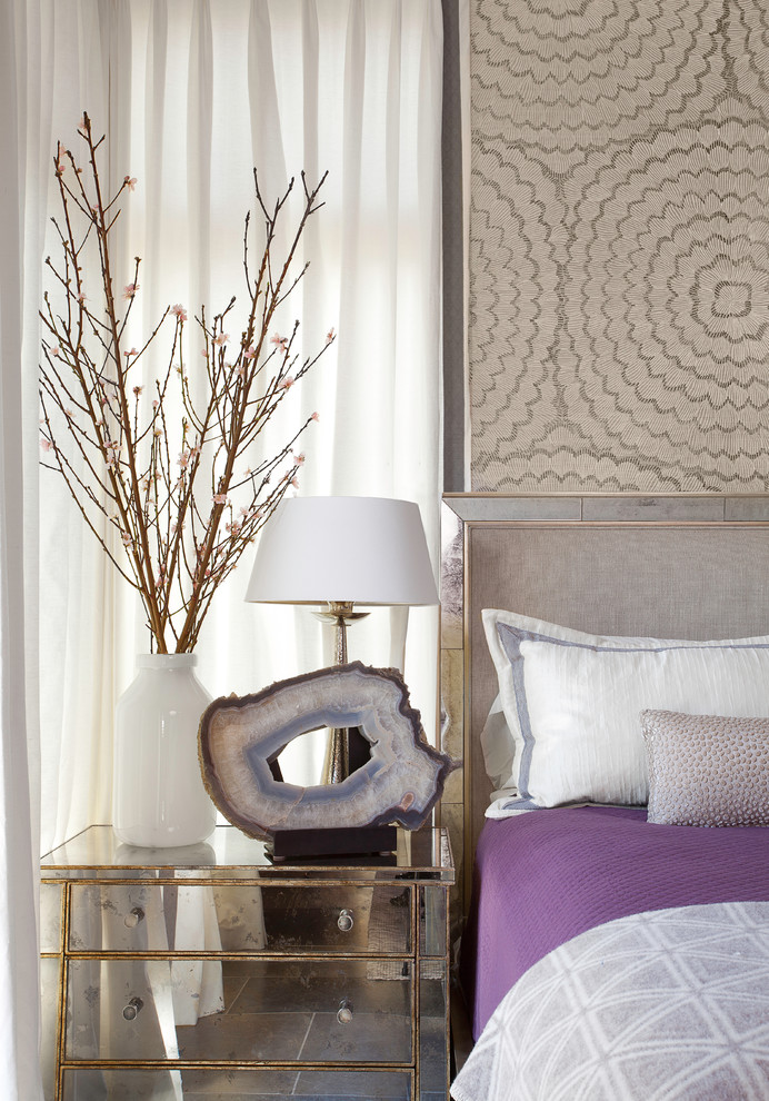 Purple Comforter Bedroom Transitional with Austin Cherry Blossoms Geode Hill Country Interior Design Mirrored Furniture Mirrored Headboard