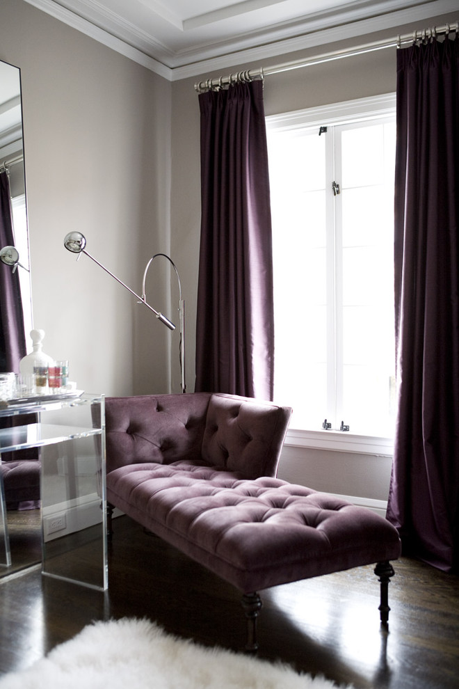 Purple Comforter Sets Living Room Contemporary with Chaise Dark Wood Floors Drapes Glam Glamorous Hollywood Regency Lucite Purple Shag