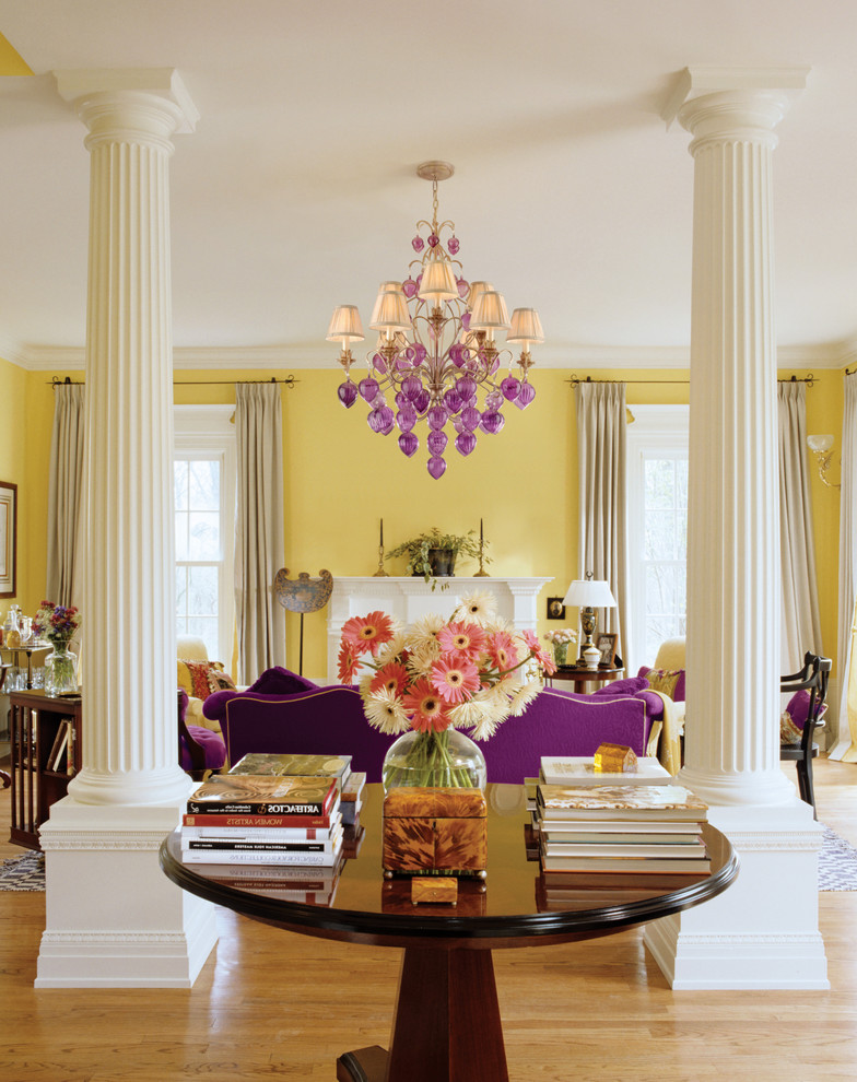Purple Comforter Sets Living Room Contemporary with Chandelier Crown Molding Curtains Drapes Fireplace Mantel Floral Arrangement Great Room Lampshades