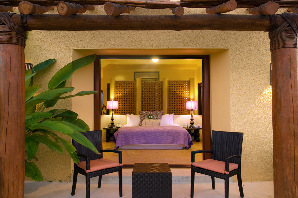 Purple Lamp Shade Bedroom Mediterranean With Beige Stucco Exterior - Bedroom-bench-exterior