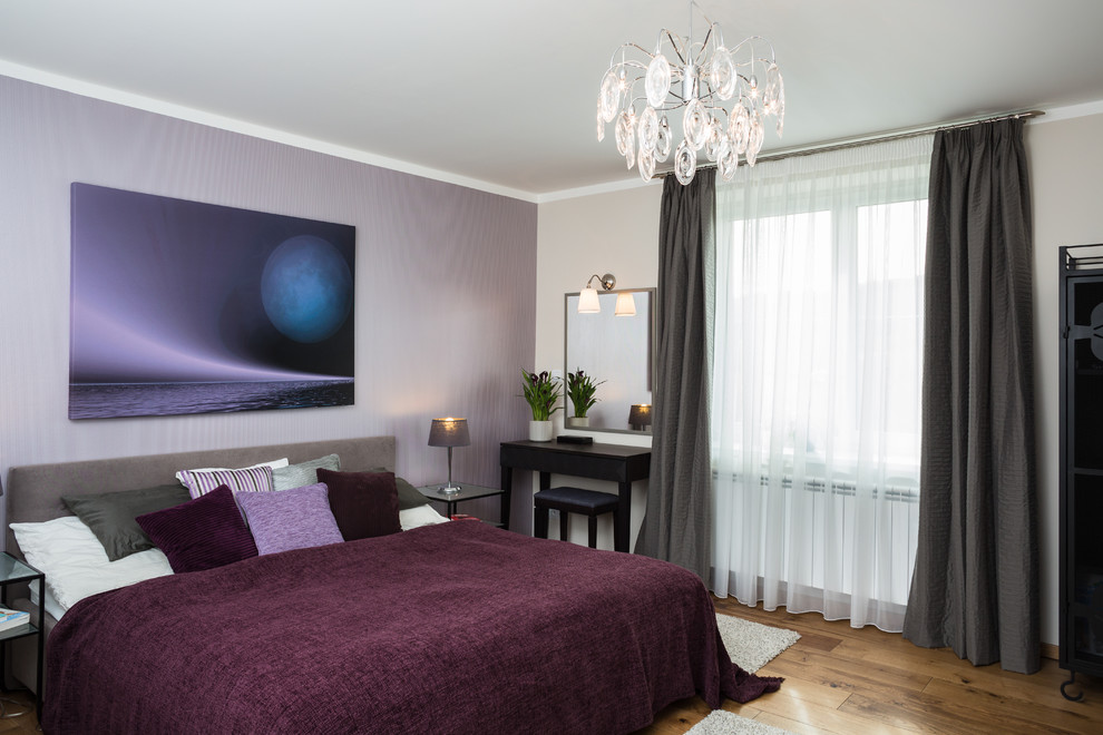 Purple Throw Pillows Bedroom Contemporary with Beige Wall Chandelier Dark Gray Curtain Glass Nightstand Gray Bed Gray Headboard