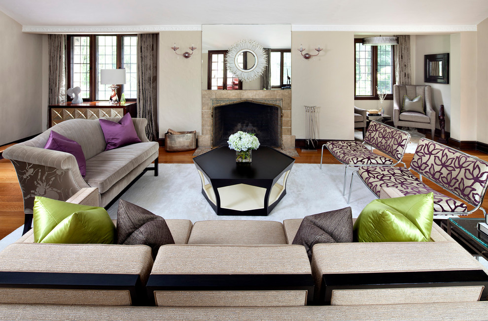 Purple Throw Pillows Living Room Contemporary with Beige Sofa Biege Wall Black Coffee Table Fireplace Floral Side Chair Gray