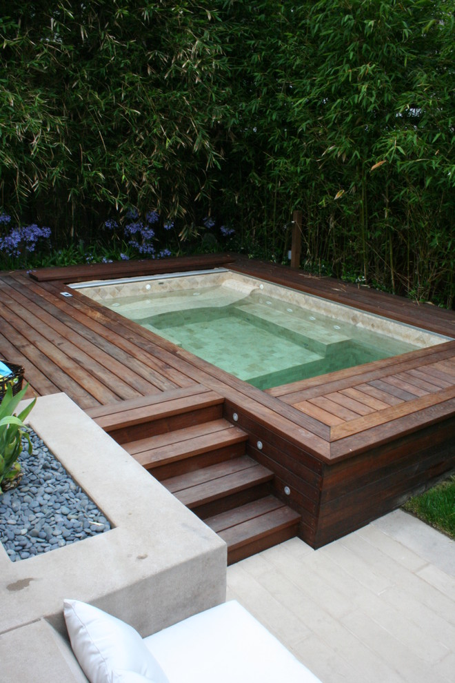 Qca Spas Pool Contemporary with Agapanthus Bamboo Built in Concrete Deck Geometric Geometry Hot Tub Ipe Jacuzzi