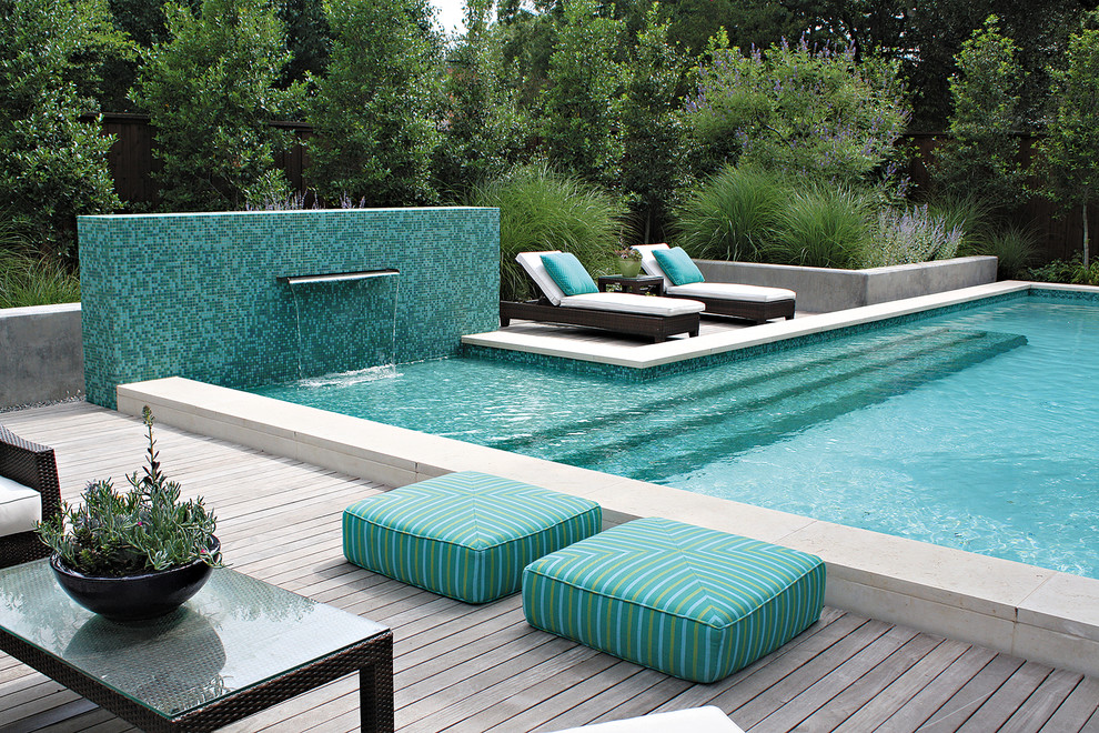 qca spas Pool Contemporary with aqua chaise longue chaise lounge deck grasses mosaic tile outdoor cushions patio
