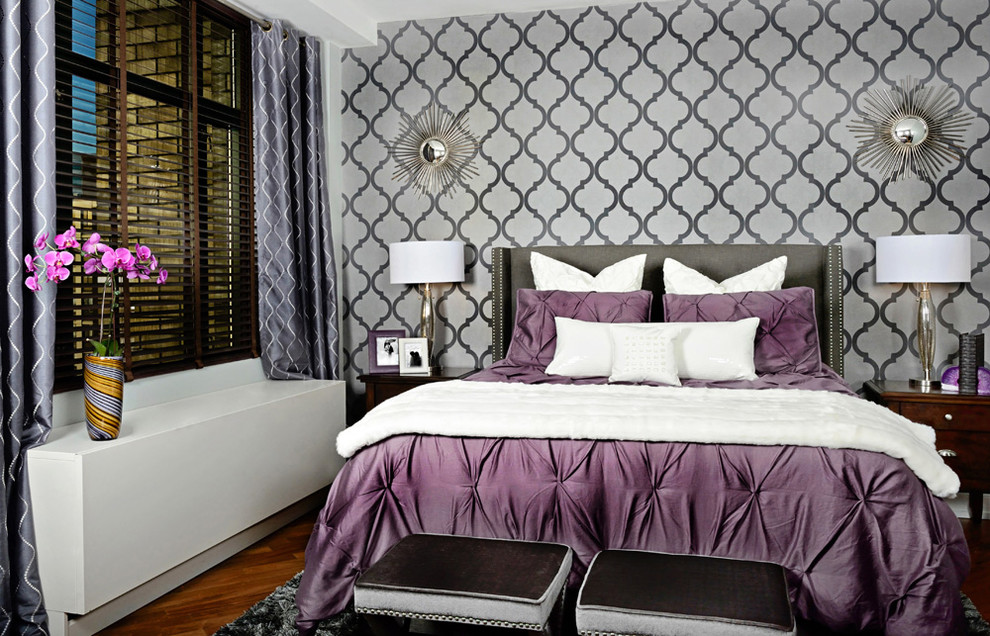 Quatrefoil Bedding Bedroom Transitional with Accent Wall Bedside Table Glamorous Nightstand Orchid Purple Duvet Quatrefoil Upholstered Headboard