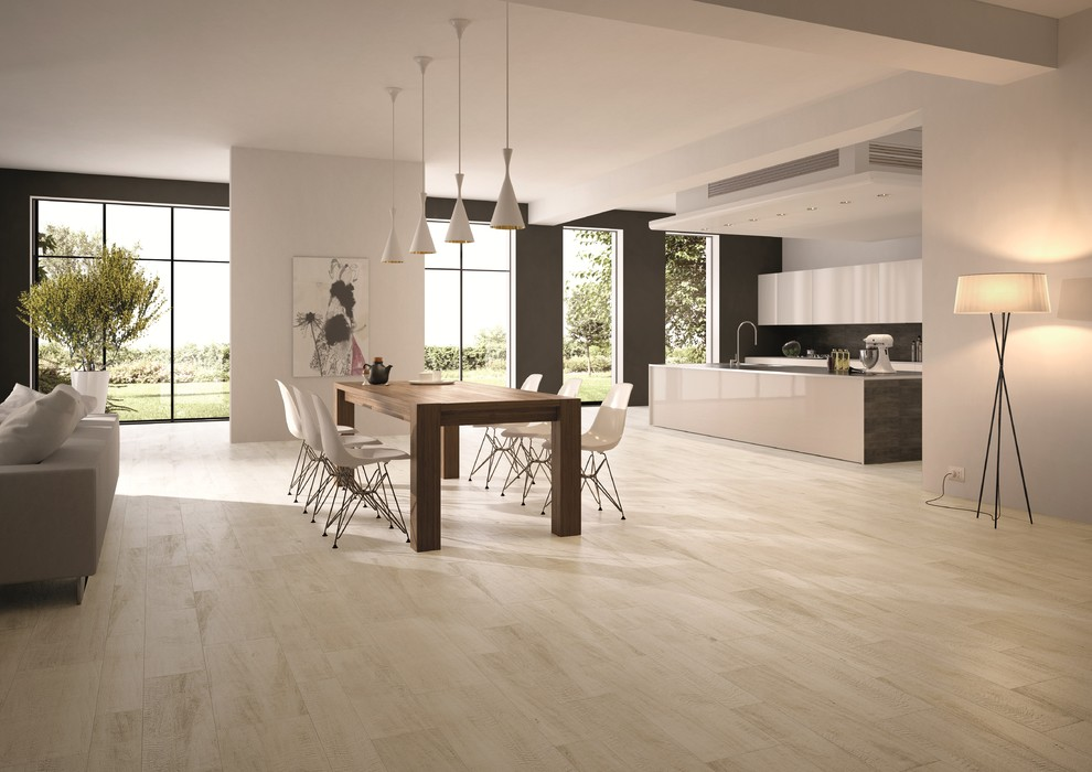 Queen Anne Chair Dining Room Contemporary with Kitchen Floor Modern Tile Plank Tile Porcelain Tile White Oak Wood Look