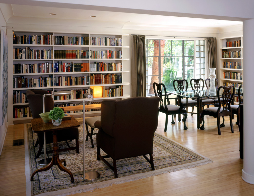 Queen Anne Chairs Dining Room Traditional with Area Rug Bookcase Bookshelves Built in Shelves Ceiling Lighting Curtains Drapes Floor
