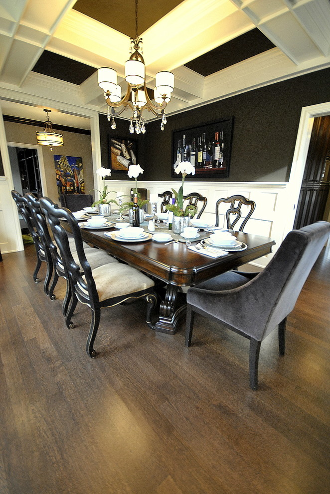 Queen Anne Chairs Dining Room Traditional with Centerpiece Chandelier Coffered Ceiling Dark Ceiling Dark Walls Decorating Dining Rooms Dining