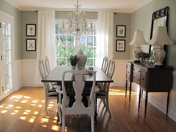 queen anne chairs Dining Room Victorian with bamboo botanical prints chair rail chinoiserie crystal chandelier Eclectic french doors gray