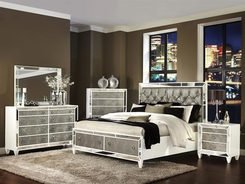 Queen Bed Headboard Bedroom with Chests of Drawers City Chic Crocodile Embossed Drawer Fronts Dresser Girls Bedroom