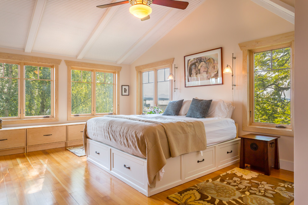 Queen Captains Bed Bedroom Beach with Beach House Bench Seat Built Ins Ceiling Fan Platform Bed Reading Lamp Sloped
