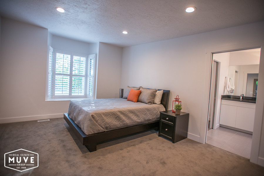 Queen Comforter Bedroom Contemporary with Bay Box Window Contemporary Cut Loop Pile Carpet Double Pane Window Night