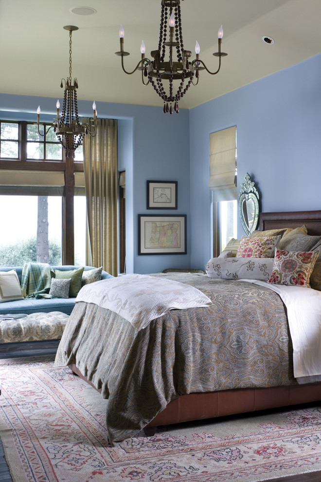 Queen Comforter Bedroom Traditional with Area Rug Artwork Bed Pillows Blue Walls Chandelier Decorative Pillows Leather Bed