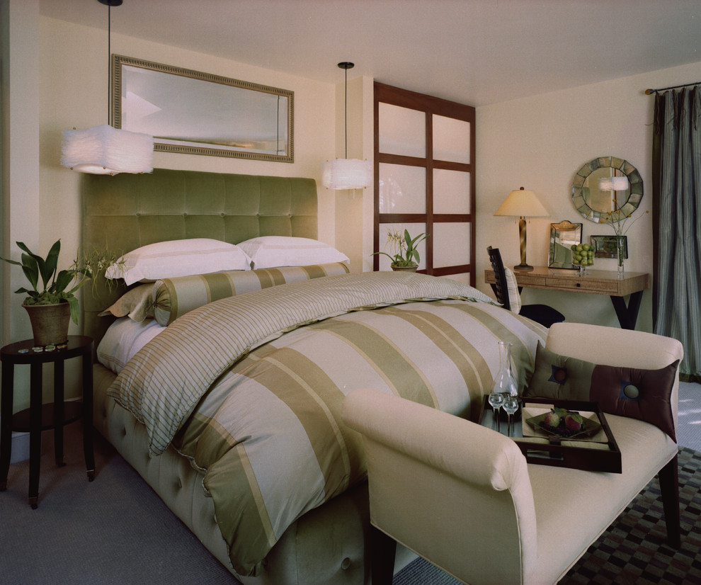 queen comforter Bedroom Transitional with Bedroom bedside table chaise contemporary custom duvet frosted glass door guest room