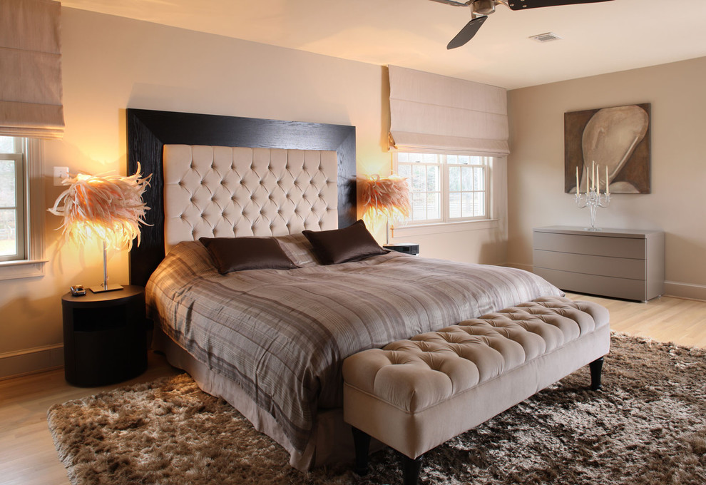 Queen Headboard Bedroom Contemporary with Bedroom Bench Beige Headboard Beige Ottoman Beige Walls Black Headboard Frame Brown