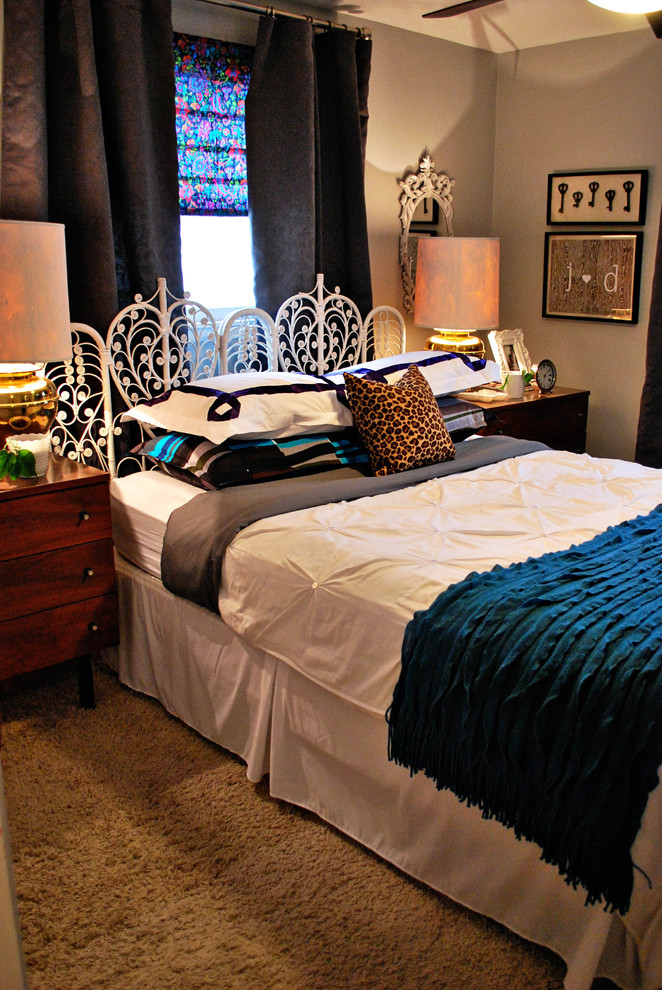 queen headboard Bedroom Eclectic with bedding blue brass cheetah faux bois gray lamps leopard pin tuck white