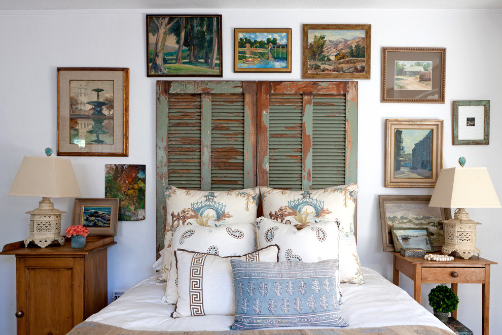 Queen Headboard Bedroom Eclectic with Distressed Wood Framed Art Gallery Wall Repurposed Headboard Shutters Wood Side Table