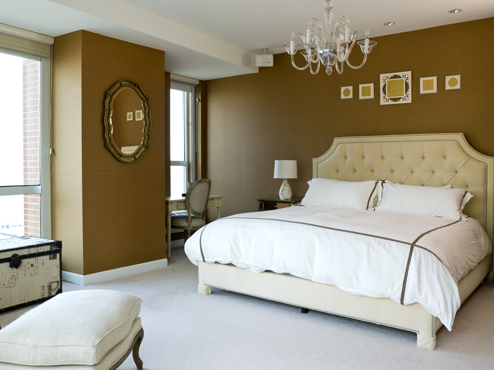 Queen Headboards Bedroom Transitional with Chandelier Desk Elegant Gold Mirror Mirror Night Stand Ottoman Painted Wall Side
