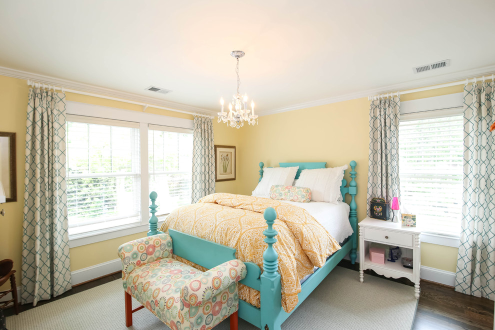 Queen Size Bed Frames Bedroom Traditional with Double Hung Windows Turquoise Bed Yellow Bedspread