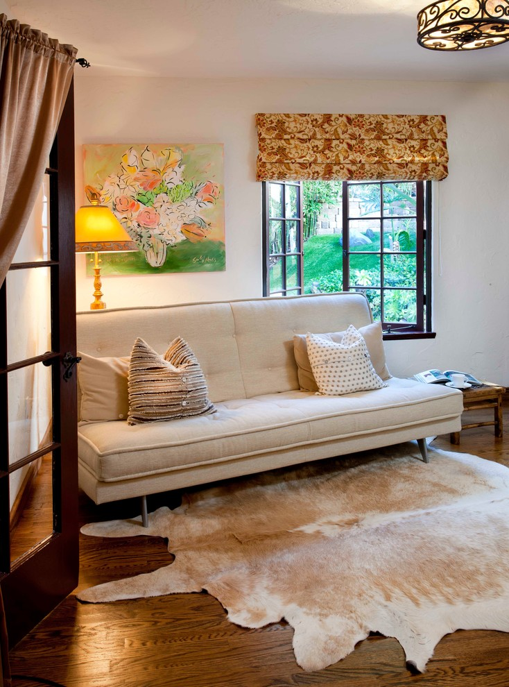 Queen Size Futon Bedroom Mediterranean with 1927 Beige Futon Canyon Home Casement Windows Ceiling Light Cow Hide Double