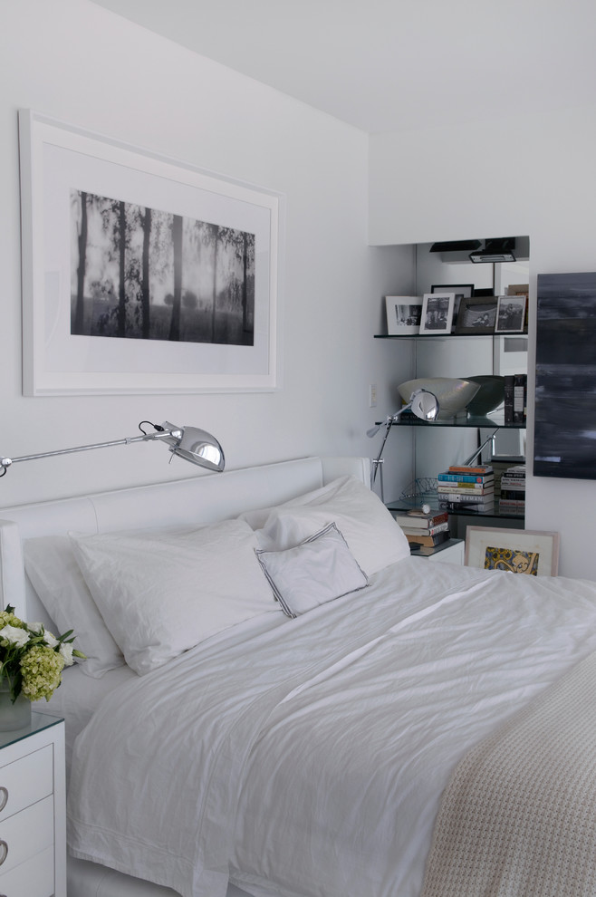 Queen Size Headboard Bedroom Contemporary with All White Bedding Black and White Photography Black Frames Neutral Palette Queen