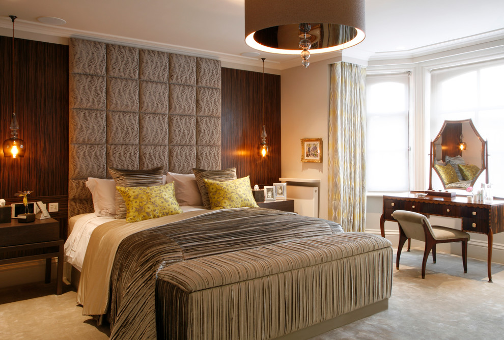 queen size headboard Bedroom Contemporary with bespoke Dream House drum shade chandelier end of bed bench full height