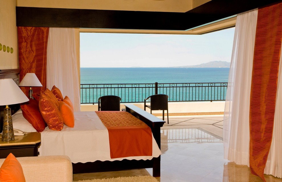 queen size headboards Bedroom Contemporary with 90-degree sliding door balcony Bedroom curtains Eclectic indoor-outdoor living multi-slide doors orange