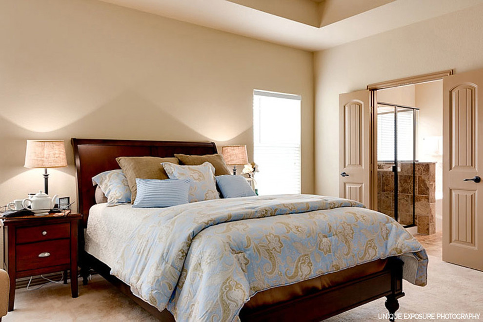 Queen Sleigh Bed Bedroom Transitional with Blue Paisley Bedding Casual Country Cherry Queen Sleigh Bed Double Door To