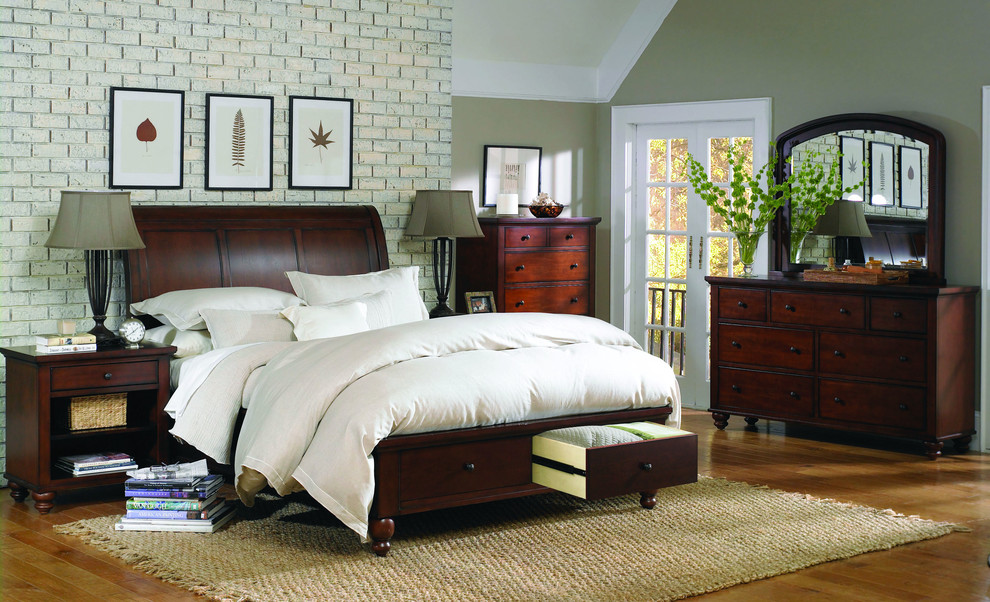 Queen Sleigh Bed Bedroom with Bedside Table Brick Wall Chests of Drawers City Chic Classic Design Dresser