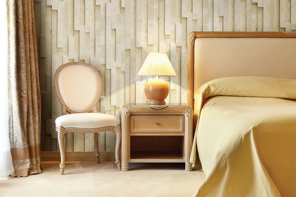 Queen Sleigh Bed Bedroom with Cream Armchair Cream Floor Tile Cream Tiles Gold Marble Wall Mosaic For