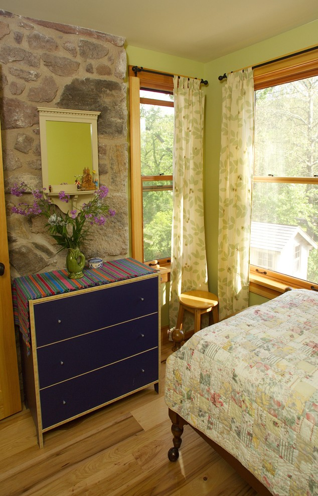 Quilted Bedspreads Bedroom Contemporary with Blue Dresser Corner Stool Double Hung Windows Floral Sheer Curtains Mirror Plant