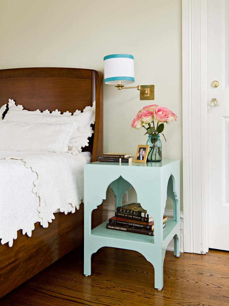 Quilted Bedspreads Bedroom Traditional with Aqua Nightstand Bedroom Brass Wall Sconce Glass Doorknob Mason Jar Moroccan Pastel