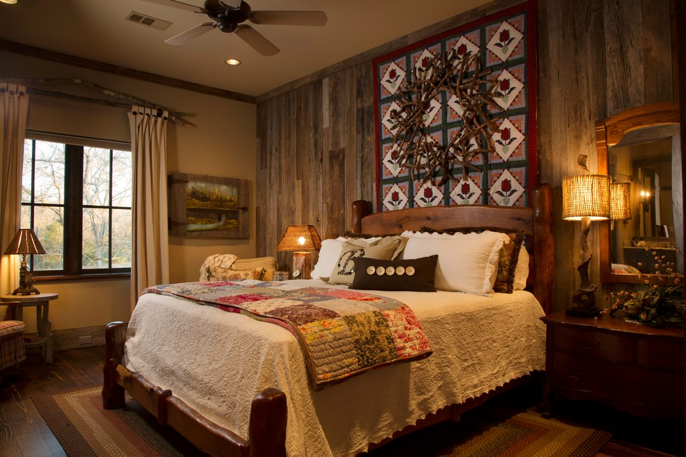 Quilted Throws Bedroom Rustic with Bedroom Ceiling Fan Rustic Rustic Headboard Wood Wood Floor Wood Siding